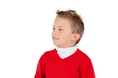Cute blond kid with red jersey Royalty Free Stock Photos