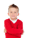 Cute blond kid with red jersey Stock Images