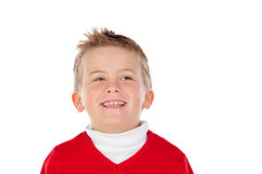 Cute blond kid with red jersey Stock Photos
