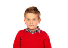Cute blond kid with red jersey Royalty Free Stock Photo