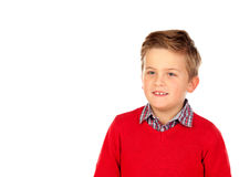 Cute blond kid with red jersey Royalty Free Stock Images