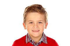 Cute blond kid with red jersey Royalty Free Stock Image