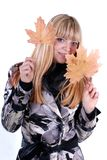 Cute blond with leaf Stock Images