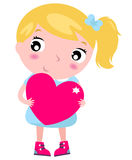 Cute blond little blond girl with pink heart isola. First love - beautiful girl with heart. Vector Illustration Royalty Free Stock Image