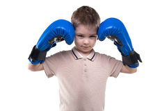 Cute blond little boy with boxing gloves Royalty Free Stock Photos