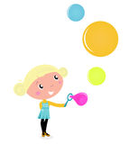 Cute blond little Girl blowing colorful bubles. vector illustration
