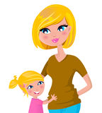 Cute blond mother and daughter isolated on white Royalty Free Stock Images