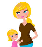 Cute blond Mother & daughter isolated on white Stock Photo