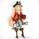 Cute blond pirate girl with cutlass, pistol and chest Stock Photo