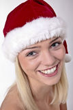 Cute Blond Santa Girl Stock Images