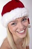 Cute Blond Santa Girl Stock Images