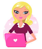 Cute blond secretary with pink laptop Stock Images