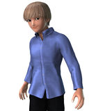 Cute blond teenage boy. 3d anime of a blond boy in anime style Stock Photography