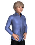Cute blond teenage boy. 3d anime of a blond boy in anime style Royalty Free Stock Images