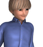 Cute blond teenage boy. 3d anime of a blond boy in anime style Stock Images