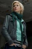 Cute blond urban woman. Blond urban woman posing in an old worn building Stock Photo
