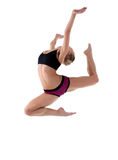 Cute blond woman jump high in fitness cloth Royalty Free Stock Photo