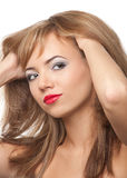 Cute blond woman with red lips Royalty Free Stock Image