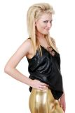 Cute blond woman smiling wearing gold and black Stock Photo