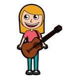Cute blond women guitar cartoon Stock Photography