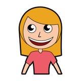 Cute blond women upperbody cartoon Stock Photo