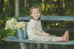 Cute blond young girl child stylish dressed in white shirt and short pants sitting on wooden bench posing bucket full of daisy cha. Momile mayweed.Adoreable Royalty Free Stock Photo