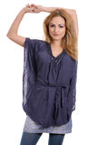 Cute blonde with blue blouse Stock Photos