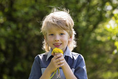 Cute blonde boy with dandelions outdoors Royalty Free Stock Photography