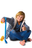 Cute blonde boy or teenager in full length casual Royalty Free Stock Photography