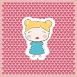 Cute Blonde Cartoon Style Cry Baby Girl. Cute Blonde Cartoon Drawing Style Cry Baby Girl on pink hearts background Stock Photos