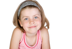 Cute Blonde Child against White Background Royalty Free Stock Photos