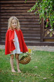 Cute blonde child girl playing little red riding hood in summer garden Royalty Free Stock Photography