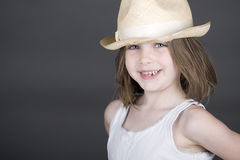 Cute Blonde Child in Straw Hat stock photo