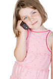 Cute Blonde Child Talking on the Phone Stock Photos