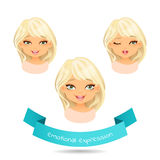 Cute blonde with different facial expressions. Cute blue eyed blonde with different facial expressions. Set of different emotion: winks, laugh, licking lips Royalty Free Stock Images