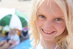 Cute blonde girl age 7 face stock images