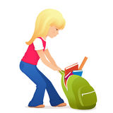 Cute blonde girl with a bit heavy schoolbag Royalty Free Stock Photos