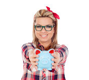 Cute Blonde Girl with a blue money box Stock Photos