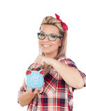 Cute Blonde Girl with a blue money box Stock Photography
