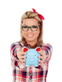Cute Blonde Girl with a blue money box Stock Image