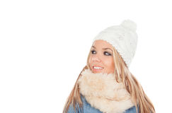 Cute Blonde Girl with coats winter clothes Stock Photos