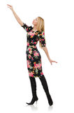 Cute blonde girl in floral dress isolated on white Stock Photography