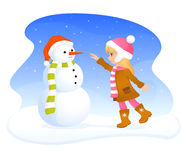 Cute blonde girl and friendly snowman Royalty Free Stock Photo