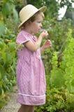 Cute, blonde girl in the garden Stock Photos