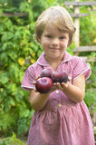 Cute, blonde girl in the garden Stock Images