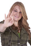 Cute Blonde Girl Giving the OK sign Royalty Free Stock Image