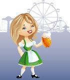Cute blonde girl with glass of beer. Cute cartoon blonde girl with glass of beer, weared in traditional German dress dirndel. eps8 file. Background is placed in Stock Images