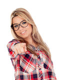 Cute Blonde Girl with glasses pointing at camera Stock Photo