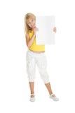 Cute blonde girl holds billboard Stock Photo