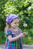 Cute blonde girl looking at white puffy dandelion seed head at her hand Stock Photo
